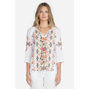 Johnny Was Chandra Embroidered Linen Boho Blouse